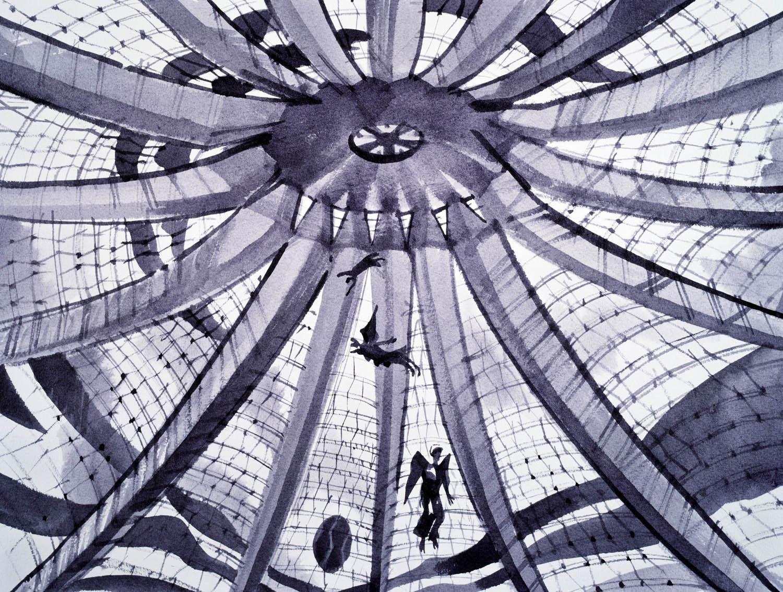 Schizzi originali di Sergei Tchoban © Sergei Tchoban. Tutte le immagini courtesy Tchoban Foundation Vista interna della cattedrale di Brasilia Oscar Niemeyer. Brasilia, Brasile 2012, inchiostro, acquerello su carta, 310x408 cm
