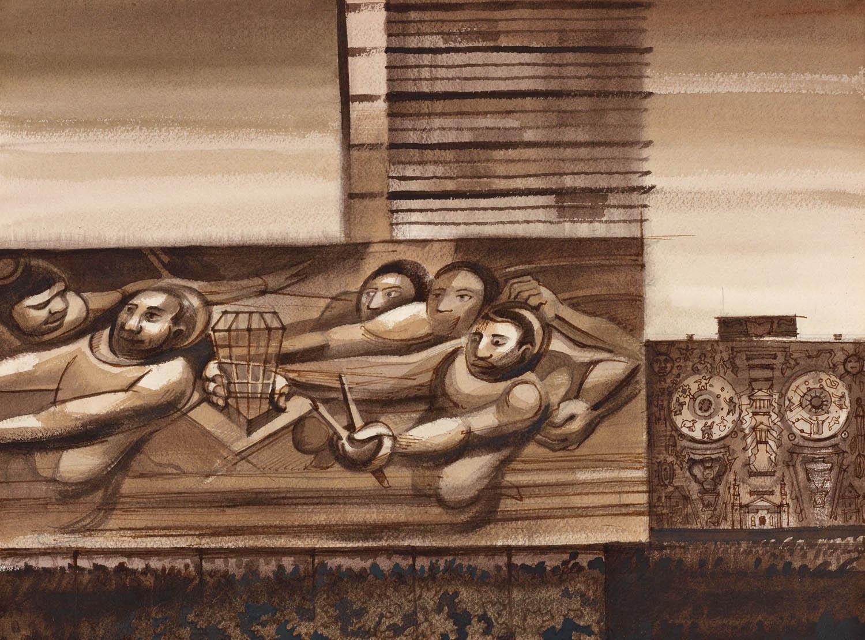 Schizzi originali di Sergei Tchoban © Sergei Tchoban. Tutte le immagini courtesy Tchoban Foundation Vista del Rettorato dell'Università del Messico (UNAM) con il murale di David Siqueiros Alfaro e della Biblioteca Centrale Città del Messico, Messico 2015, seppia, inchiostro, acquerello su carta, 310x409 cm